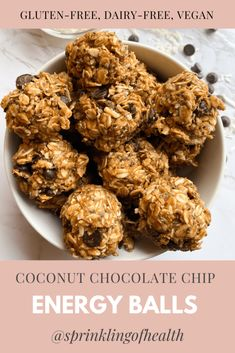 The ultimate meal-prep friendly snack! These vegan, gluten-free, and refined sugar-free COCONUT CHOCOLATE CHIP ENERGY BALLS are the best snack for anyone on-the-go or chilling at home. Perfect for the mid-day sweet tooth or for a healthy dessert. Great for kids, families, or college students! #healthy #healthyrecipes #energyballs #energyballrecipes #vegan #veganrecipes #glutenfree #glutenfreerecipes #healthysnacks #snackrecipes #easysnackrecipes #easysnacks #healthymeals Chocolate Protein Bites, Coconut Chocolate, Chocolate Chip Oatmeal, Chocolate Recipes, Healthy Chocolate, Delicious Vegan Recipes, Healthy Dessert Recipes, Veg Recipes, Healthy Baking