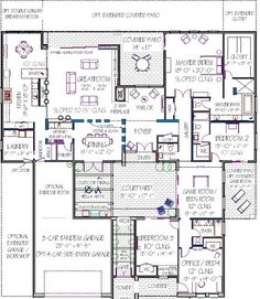 House plan with courtyard. Photos show very modern house, but the plan is workable. One story. Best House Plans, Dream House Plans, Modern House Plans, House Floor Plans, Modern Courtyard, Courtyard House Plans, Courtyard Design, Courtyard Ideas, Front Courtyard