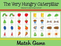The Very Hungry Caterpillar Match Game - Mamas Learning Corner Preschool Books, Preschool Activities, Activities For Kids, Preschool Plans, Preschool Names, Nursery Activities, Preschool Curriculum, Spring Activities, Preschool Kindergarten