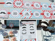 Mustache Baby Shower Decorations for boys Aqua by BusyChickadees, $20.00