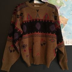 Soft brown sweater urban outfitters boho Soft warm sweater!! Size large, definitely fits like a large. OPEN TO OFFERS!! Tags; urban outfitters, brandy Melville, pac sun, vintage, cardigan, knit sweater, pattern sweater, Urban Outfitters Sweaters