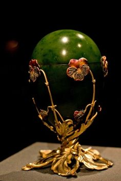 Pansy Egg (aka the Spinach Jade) Faberge egg 1899 / Floral Green Gold Faberge Egg