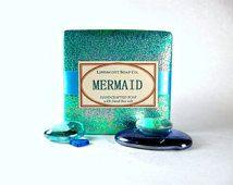 Mermaid Soap, Cold Process Soap, Bar Soap, Handmade Soap, Sea Salt Soap, Phthalate Free, Women's Soap, Dead Sea Salt Soap, Summer Soap