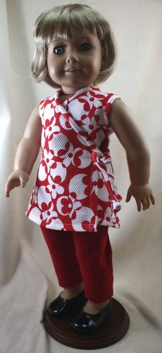 American Girl Doll Clothes,Red and White Wrap Dress and Pants