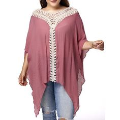 $11.99 Stylish V Neck 3/4 Sleeve Asymmetrical Hollow Out Plus Size Maternity Blouse For Women