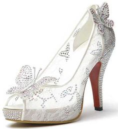 This white lace bridal shoes decorate with glamorous rhinestone that are very shining. A prim butterfly attach on the open toe and another attach just back of the shoes those are not removable. The…