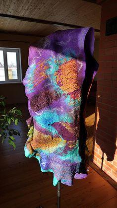 Nuno felted wool scarf