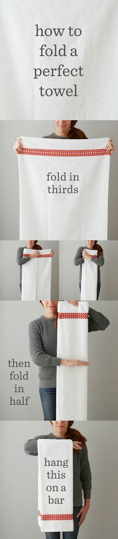 A Bath Towel That You Plan To Hang Up | 25 Tutorials To Teach You To Fold Things Like An Actual Adult