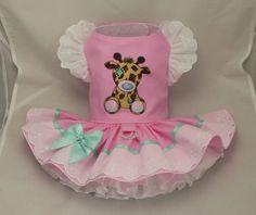 Dog dress.Toy Giraffe in pink by Poshdog. Tutu skirt. by poshdog