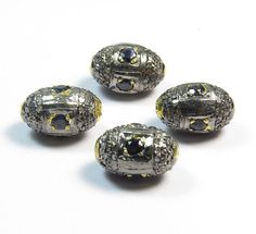 Vintage Pave Diamond & Blue Sapphire Beads925 Sterling by GEMSICON