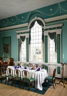 The large dining room at Mount Vernon, George Washington's Virginia plantation