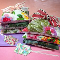 Pretty Lavender Sachet orders ready to be wrapped