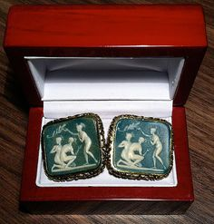 Stunning Vintage Dante Intaglio Nude Bathers Cufflinks Vintage Cufflinks, Men's Cufflinks, Cigarette Box, Renaissance Men, Tie Pin, Wedding Groom, Class Ring, Lettering, Trending Outfits