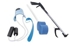 "Economy Hip/Knee Kit for the patient recovering from total hip or knee replacement surgery. Includes five items to help the user remain independent when bathing, dressing, and accomplishing other tasks. 26"" Reacher or 32"" AliReach Standard Reacher, Sock Aid with Foam Handles, 16"" Plastic Shoehorn, Big Hook Dressing Stick, and an Hourglass-Shaped Scrub Pal."