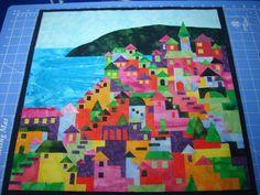 """Wall quilt in progress (from Karen Eckmeier's """"Happy Villages"""" design)"""