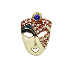 Lady Face Mask Pin Gold