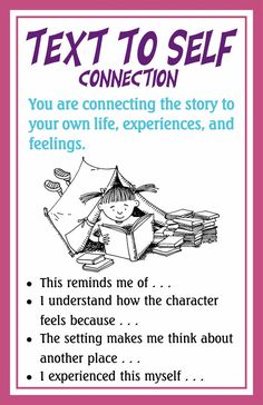 Making Connections -- love these explanations on connecting text to self, other texts and the world around you.