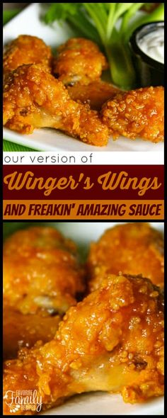 We are the home of the FIRST copycat recipe for these Wingers Wings with Freakin' Amazing Sauce! We've had rave reviews on the sauce - only 2 ingredients! via @favfamilyrecipz Sauce For Chicken Wings, Chicken Wing Sauces, Baked Chicken Wings, Cooking Chicken Wings, Fried Chicken, Tandoori Chicken, How To Cook Chicken, Chicken Bacon, Sauce Recipes