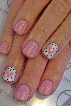 Heart+ black polka dot nail art design on accent nails and blush pink. Easy and… Heart+ black polka dot nail art design on accent nails and blush pink. Easy and Original Valentine's Day Nail Art and Designs. Nail Art Cute, Dot Nail Art, Polka Dot Nails, Pretty Nail Art, Polka Dots, Nail Art Kids, Heart Nail Art, Valentine's Day Nail Designs, Cute Nail Art Designs