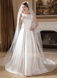 A-Line/Princess Scoop Neck Chapel Train Satin Wedding Dress With Beading (002011715) - JJsHouse