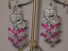 heart with pink crystal dangle drop earrings handmade #Handmade #DropDangle
