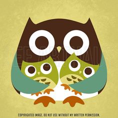 28R Retro Owl with Twins 6x6 Print by leearthaus on Etsy