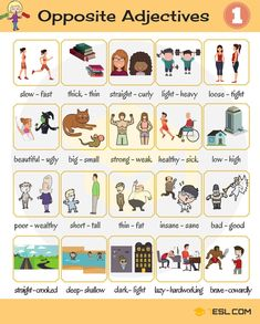 Opposites are words lying in an inherently incompatible binary relationship, like the opposite pairs big – small, long – short, … - List of Opposite Adjectives in English - ESLBuzz Learning English Learning English For Kids, English Lessons For Kids, Kids English, English Language Learning, English Words, English Grammar, Teaching English, Learn English, Opposite Words In English