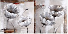NEW 2pc Canvas Wall Art-streched over timber 50cm x50cm- White abstract flower