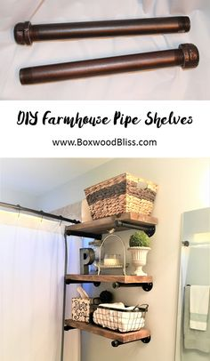 DIY Farmhouse Pipe Shelves - One of the easiest DIY Projects out there! www.BoxwodBliss.com