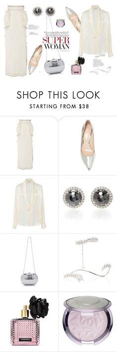 """Lowe Crinkled Satin Midi Skirt"" by marialibra ❤ liked on Polyvore featuring Loewe, Nicholas Kirkwood, Yeprem and Victoria's Secret"