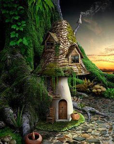 Shroom Shack Mushroom House, Mushroom Art, Fairy Tree, Gnome House, Fairy Garden Houses, Fairy Doors, Miniature Fairy Gardens, Miniature Houses, Fairy Land