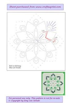 ED056 Green flower mandala on Craftsuprint designed by Emy van Schaik - Stitching with beads - Now available for download!
