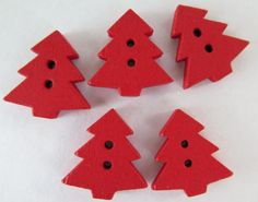 Wood Buttons  Tree Buttons  5 pieces  15mm  Red  by HazalsBazaar
