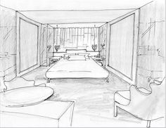 Modrian Hotel - Room Interior Sketch  Principles of design in use: unity, dominance, proportion.