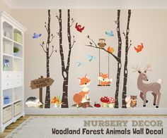 WOODLAND NURSERY Decor Wall Decal TREES Fox by AmericanDecals room kid room decor kid room ideas room room room ceiling room design room themes decor Fox Nursery, Woodland Animal Nursery, Woodland Nursery Decor, Nursery Trees, Woodland Animals, Birch Tree Decor, Tree Branch Decor, Birch Trees, Tree Branches