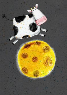 cow that jumped over the moon-cute illustration by Cally Jane Studio Hey Diddle Diddle, Cow Art, Kindergarten Art, Children's Book Illustration, Whimsical Art, Elementary Art, Zentangle, Art Lessons, Painted Rocks