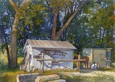 "Tack House by Richard Sneary Watercolor ~ 10"" x 14"""