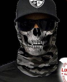 Grey Military Camo Skull Multi Purpose Face Shield Balaclava Bandana Neck Gaiter Sun Mask Neckerchief by VaderUnlimited on Etsy