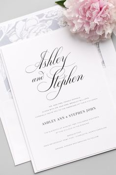 Timeless Calligraphy Wedding Invitations with a gorgeous floral envelope liner in dove gray