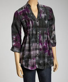 Take a look at this Black & Purple Plaid Tie-Dye Button-Up by She's Cool on #zulily today!