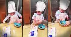 This sweet girl was playing in the kitchen with mom and dad when they gave her an egg. And she gave them a big surprise. Wow check this little master chef out! Do you know a little one with a big talent?