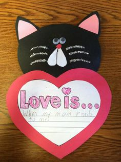 Love, Splat inspired Valentine's craft--too cute!--Would be a great go-along for The Valentine Cat!