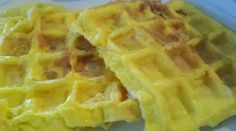 Who knew you could cook eggs in a waffle iron? It would need to be a well seasoned or nonstick or sprayed waffle iron, I think....