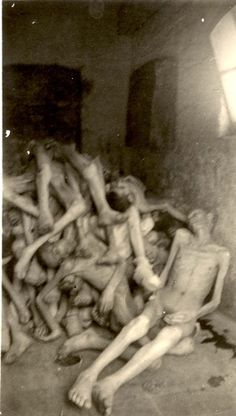 Dachau, Germany, 1945, A pile of corpses, after the liberation. It sickens me that these people are piled up like junk. They haven't even been shown respect after death.
