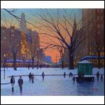 Skating in the Park printed from an original oil painting by Thomas R. Dunlay. Signed and numbered by the artist.
