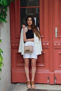 Navy Top White Shorts  White Blazer Lace Up Sandals Valentino Bag Cleo Collar Necklace Céline Frames.