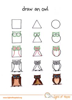 draw drawing square animal circle triangle basic owl shapes shape drawings any animals using easy different children cartoon hope technology