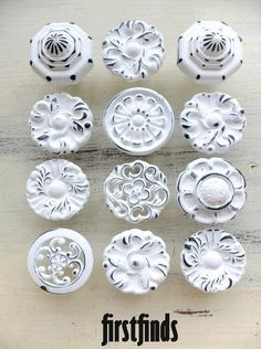 "12 Large ""misfit Knobs"" Shabby Chic White Kitchen Cabinet Painted Hardware…"