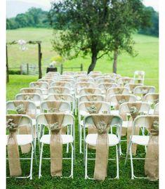 rustic burlap wedding ceremony chair decor / www. rustic burlap wedding ceremony chair decor / www. Outdoor Wedding 2019 - World Trends - Wedding Ceremony Chairs, Wedding Chair Decorations, Ceremony Seating, Wedding Table, Wedding Rustic, Wedding Backyard, Wedding Vintage, Outdoor Ceremony, Wedding Ceremonies