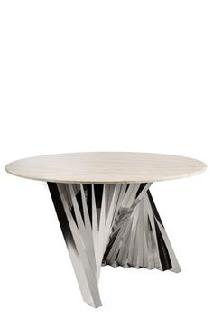Statements by J Waterfall Marble Top Dining Table in Silver, 30 Inch Tall Marble Top Dining Table, Dining Tables, Furniture Companies, Waterfall, Stainless Steel, Wood, Silver, Track, Home Decor